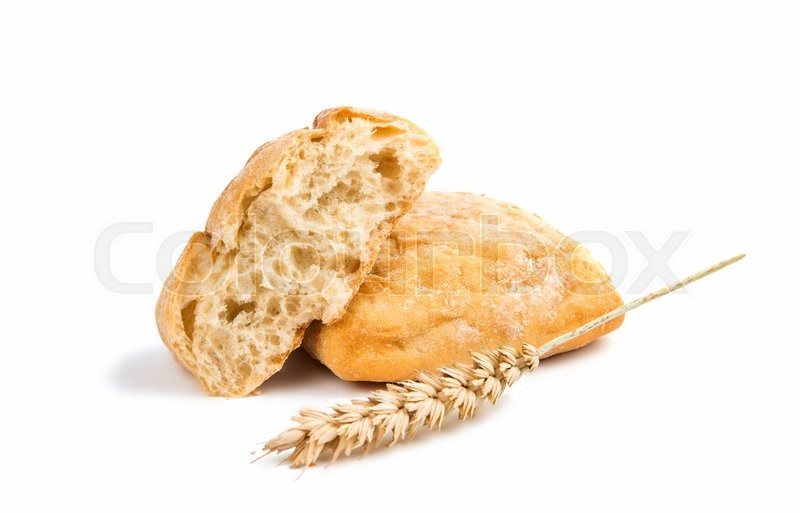 Stock image of 'Ciabatta (Italian bread), isolated on a white background'
