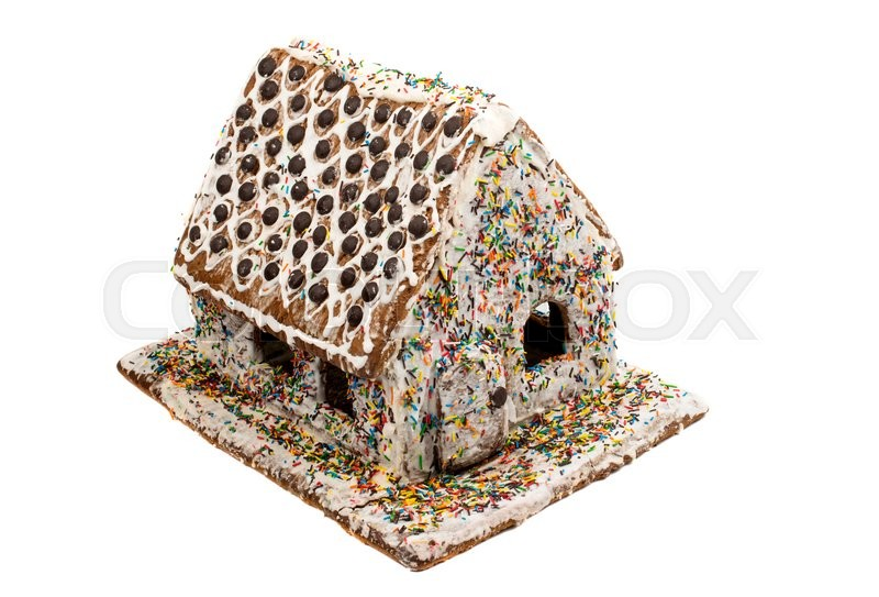 Stock image of 'gingerbread house on a white background'