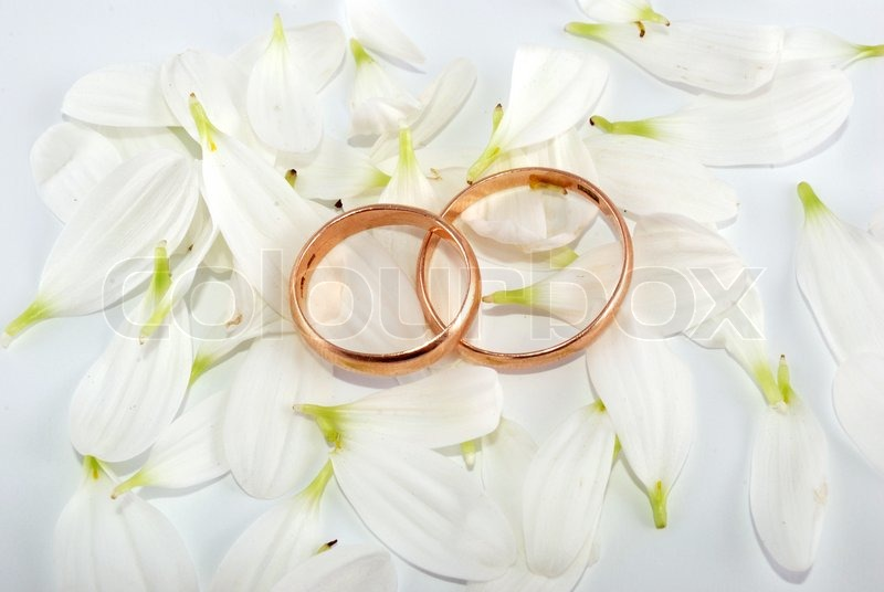 Wedding rings and flowers composition White petals Stock Photo