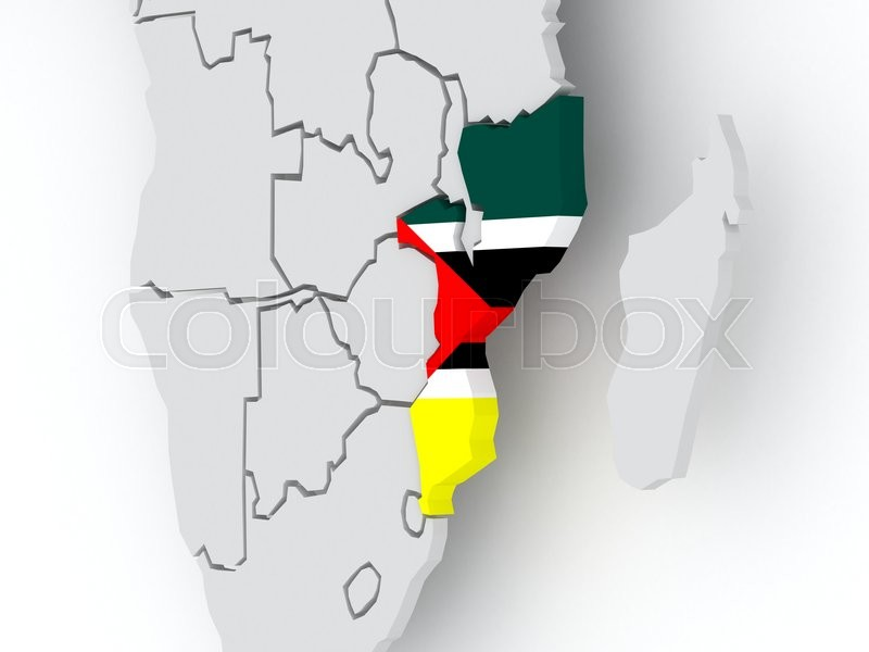 Stock image of 'Map of worlds. Mozambique. 3d'