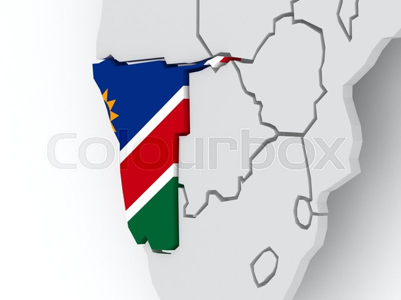 Stock image of 'Map of worlds. Namibia. 3d'