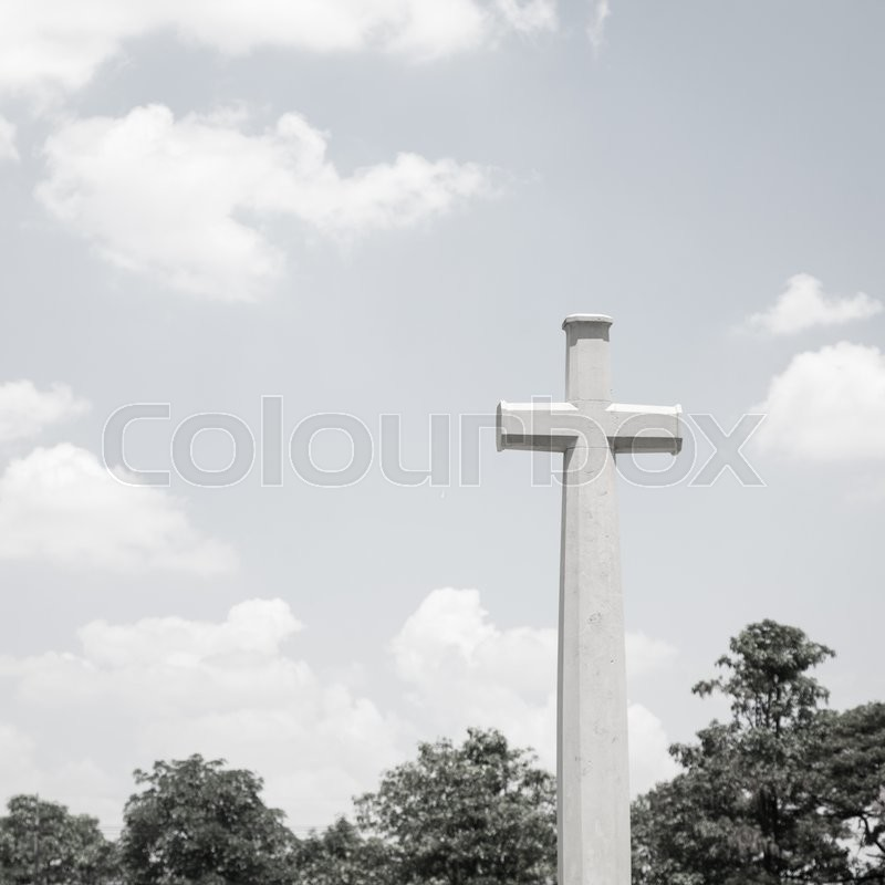 Stock image of 'Cross. crucifix of black and white photographs with depressed mood.'