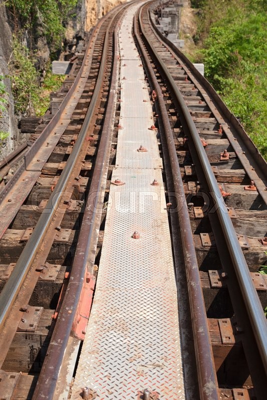 Stock image of 'old railway tracks that has not yet come secondary tracks.'