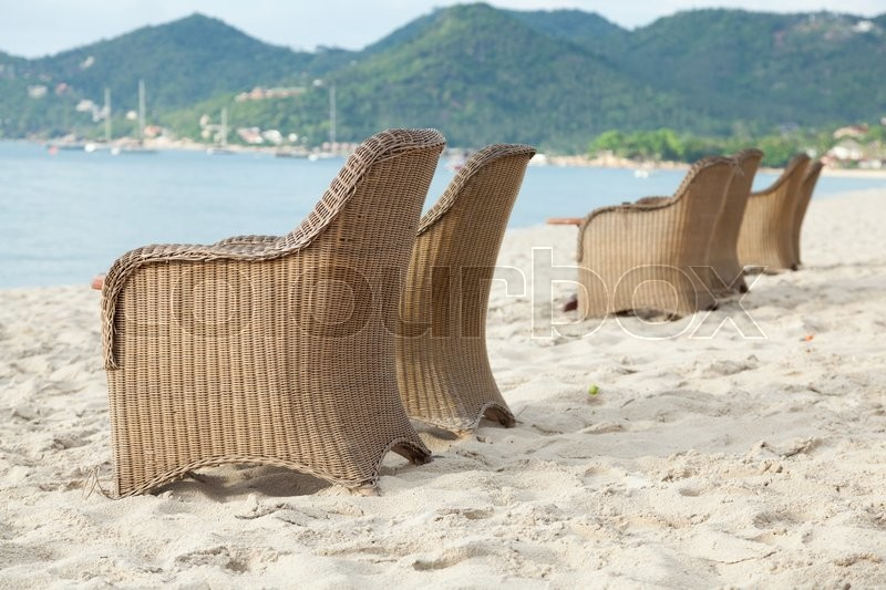 Stock image of 'Chairs on the beach. Adjacent to the sea for relaxation and nature.'