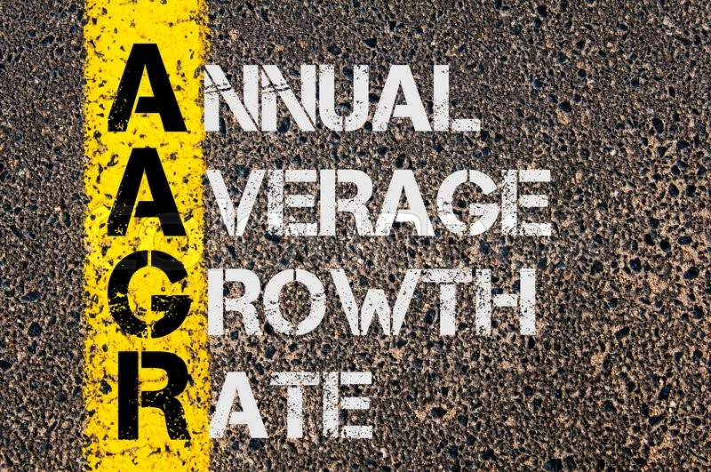 Stock image of 'Concept image of Business Acronym AAGR as Annual Average Growth Rate  written over road marking yellow paint line.'