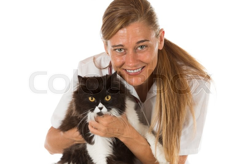Stock image of 'Veterinary hugging a cat and reassuring for review'