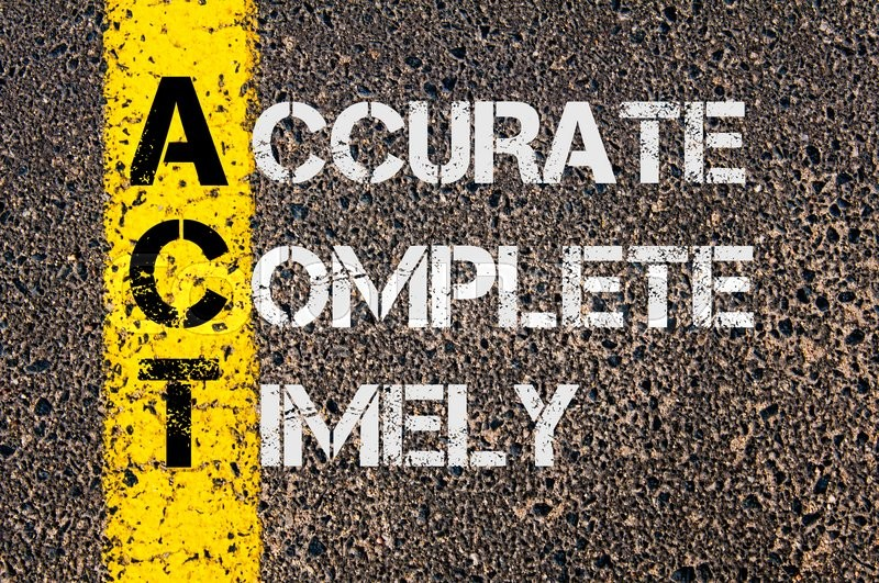 Stock image of 'Concept image of Business Acronym ACT as Accurate Complete Timely  written over road marking yellow paint line.'