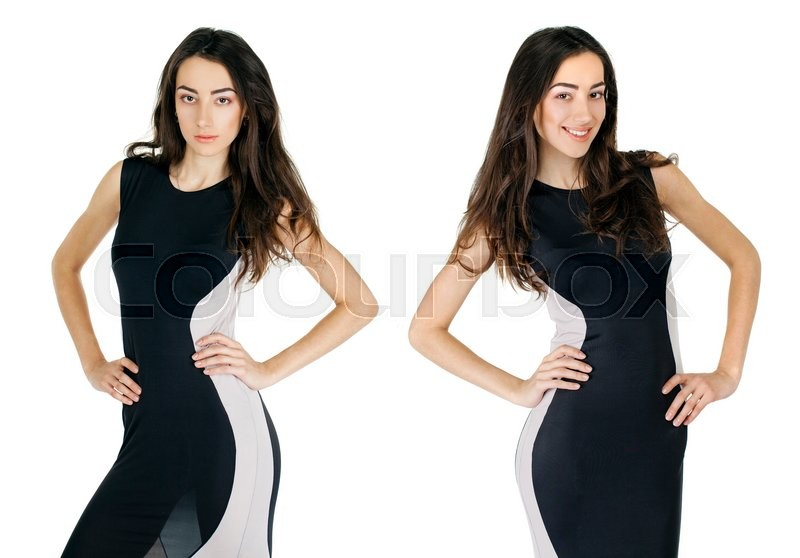 Stock image of 'Sexy young woman in evening black dress'