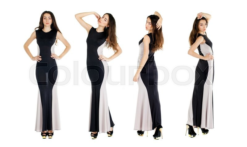 Stock image of 'Collage four girls. Sexy young women in evening black dress'