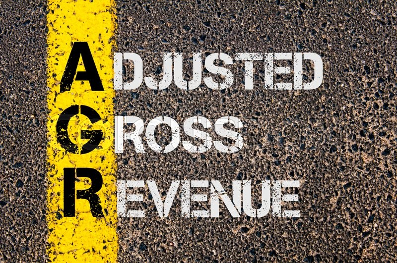 Stock image of 'Concept image of Business Acronym AGR as Adjusted Gross Revenue  written over road marking yellow paint line.'