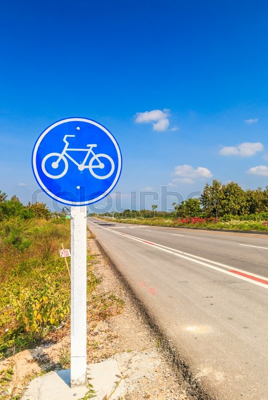 Stock image of 'Bicycle label lane and bicycle path'