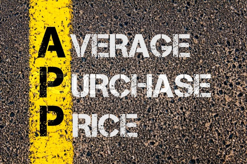 Stock image of 'Concept image of Business Acronym APP as Average Purchase Price  written over road marking yellow paint line.'