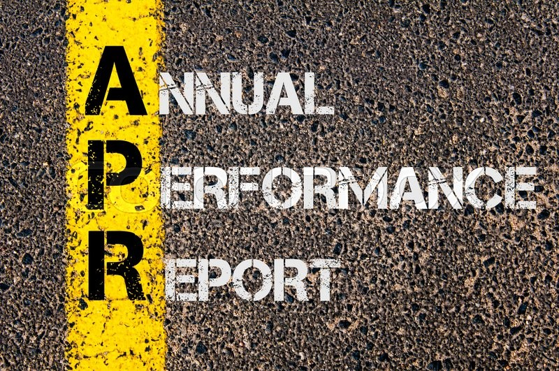 Stock image of 'Concept image of Business Acronym APR as Annual Performance Report  written over road marking yellow paint line.'