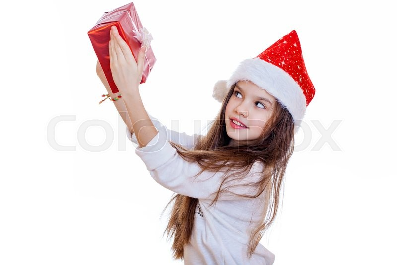 Stock image of 'Portrait of a charming little girl on christmas, isolated in white background'