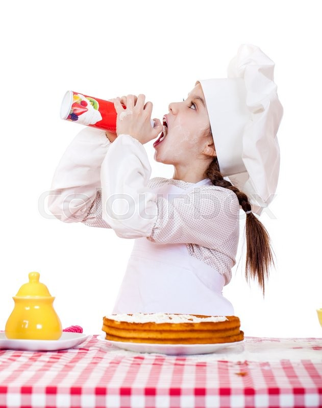 Stock image of 'Cooking and people concept - smiling little girl in cook hat, isolated on white background'