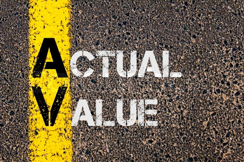 Stock image of 'Concept image of AV as Actual Value  written over road marking yellow paint line.'