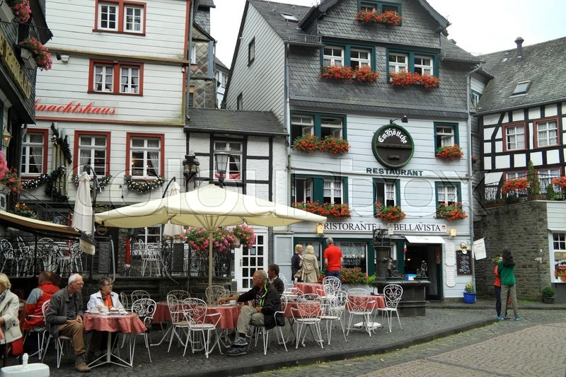 Editorial image of 'Small city Monschau in Germany is situated at a height of 350-650 meters'