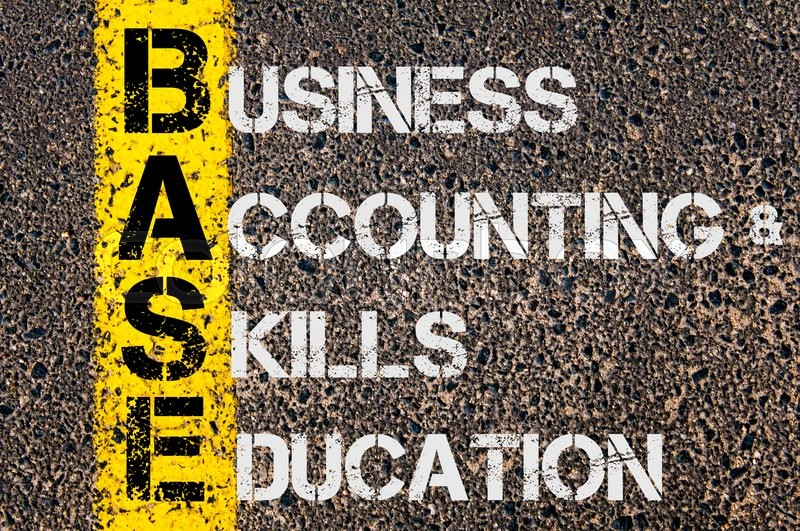Stock image of 'Concept image of Business Acronym BASE as Business Accounting and Skills Education  written over road marking yellow paint line.'