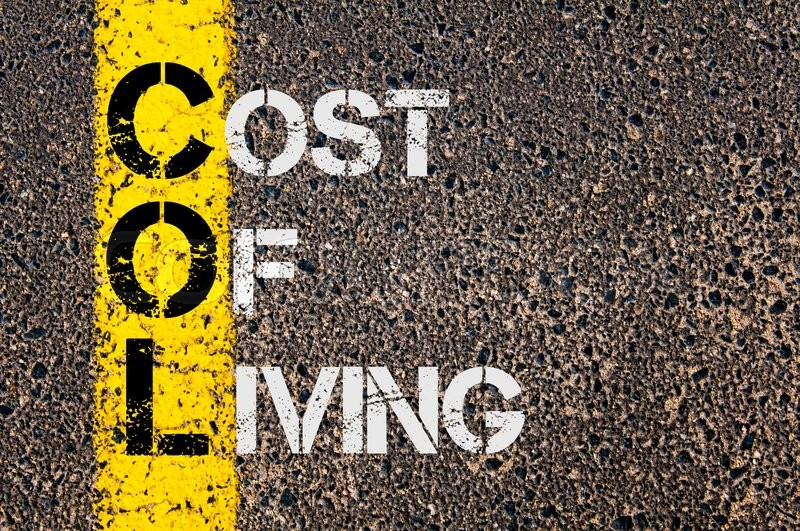 Stock image of 'Concept image of Business Acronym COL as Cost Of Living  written over road marking yellow paint line.'
