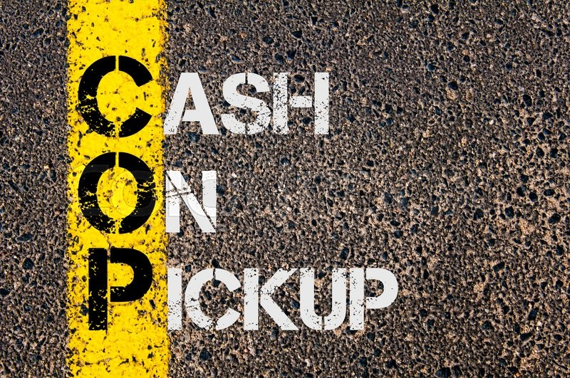 Stock image of 'Concept image of Business Acronym COP as Cash On Pickup  written over road marking yellow paint line.'