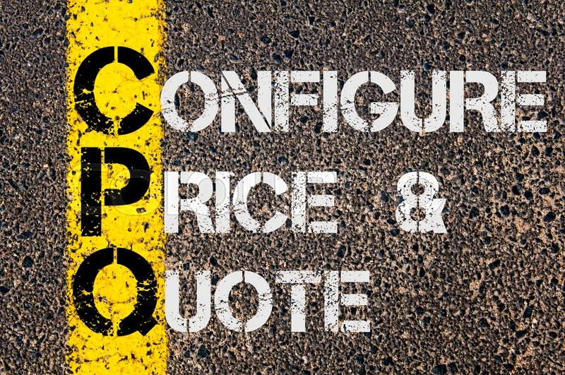 Stock image of 'Concept image of Business Acronym CPQ as Configure Price and Quote  written over road marking yellow paint line.'