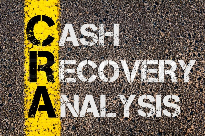 Stock image of 'Concept image of Business Acronym CRA as Cash Recovery Analysis  written over road marking yellow paint line.'