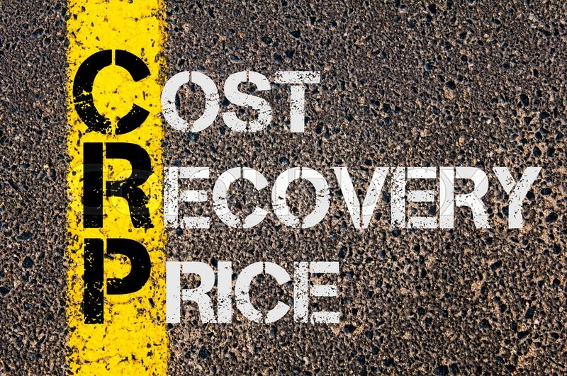 Stock image of 'Concept image of Business Acronym  CRP as Cost Recovery Price  written over road marking yellow paint line.'