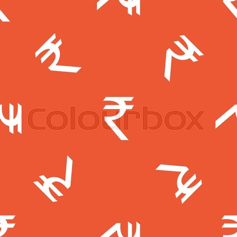 Image Of Indian Rupee Symbol Repeated On Orange Background Stock