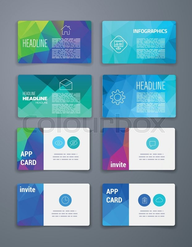 Template Business Card Abstract Geometric Vector Template Layout - Business card template app