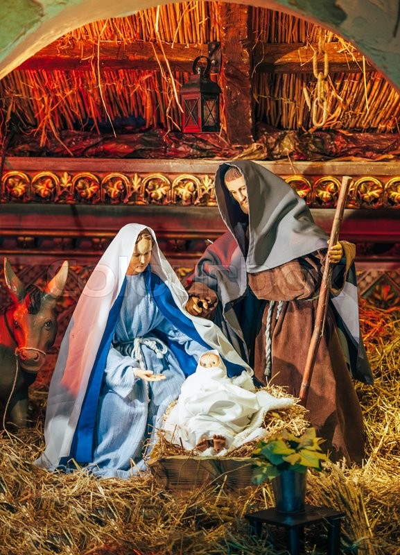 nativity of jesus christmas manger scene with figurines including jesus in manger mary little jesus and donkey stock photo colourbox