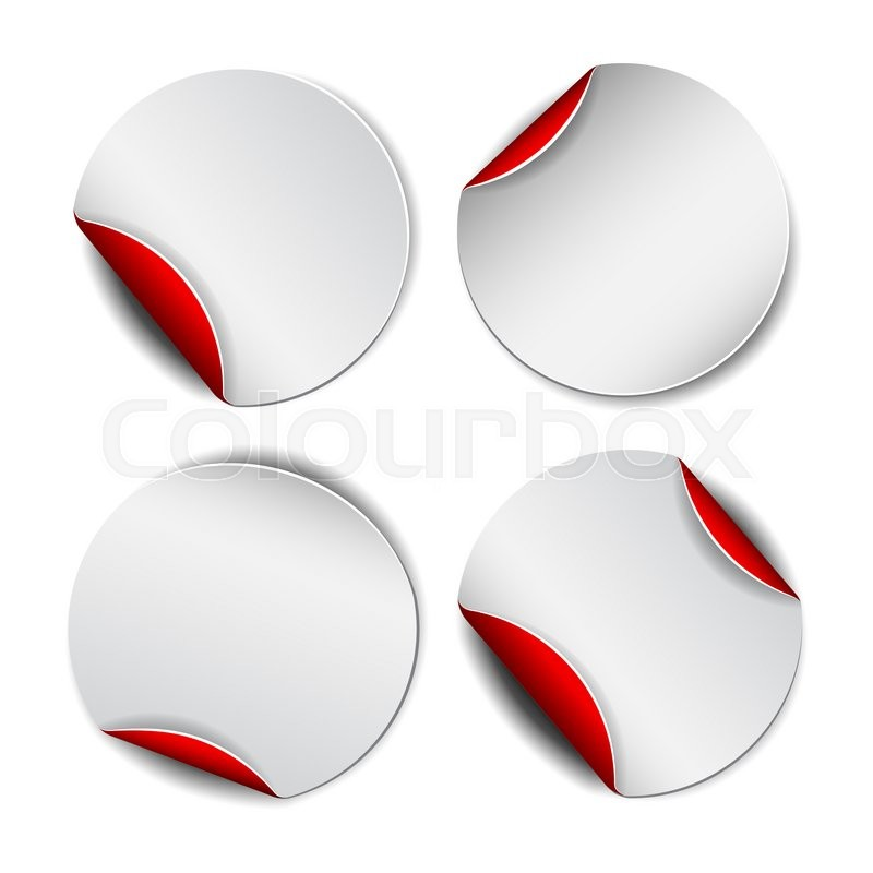 Stock image of 'Set of white round promotional stickers with red backside.  '