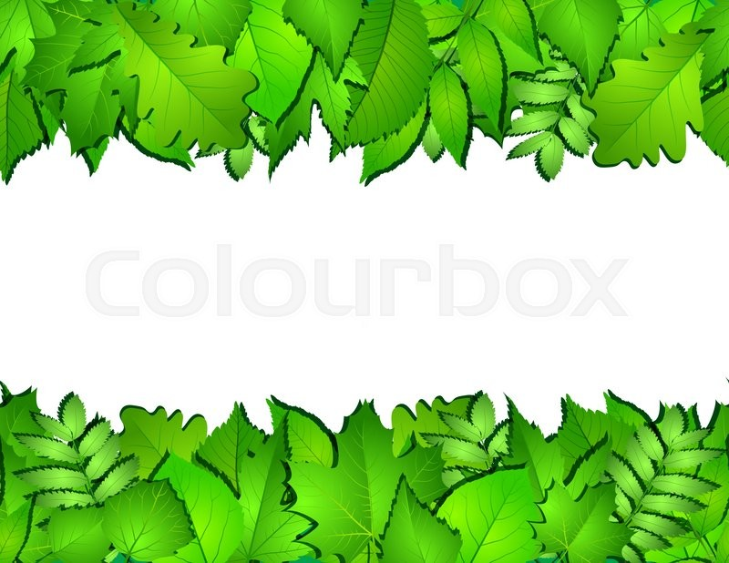 Stock image of 'Horizontal seamless background with green leaves. '