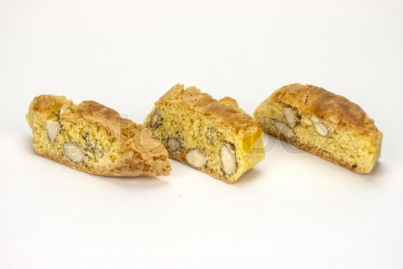 Stock image of 'Cantucci, a tipical tuscan biscuits on a white background.'