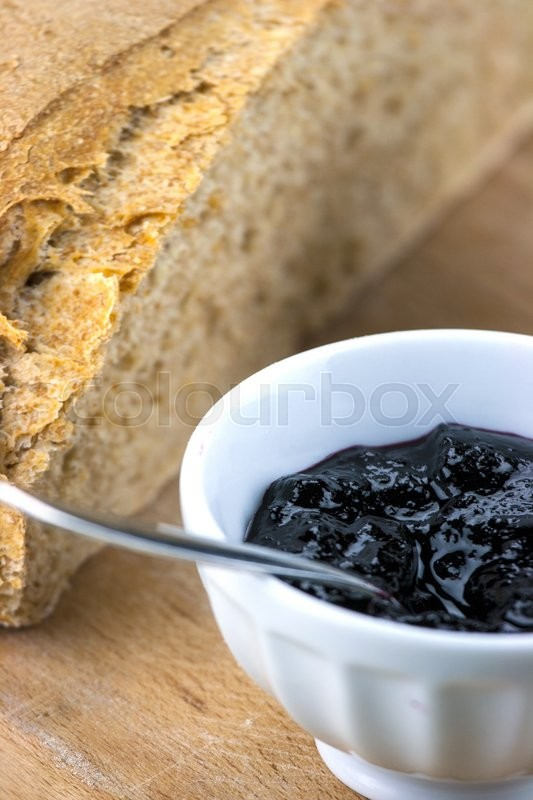 Stock image of 'Homemade blueberry jam with integral bread '