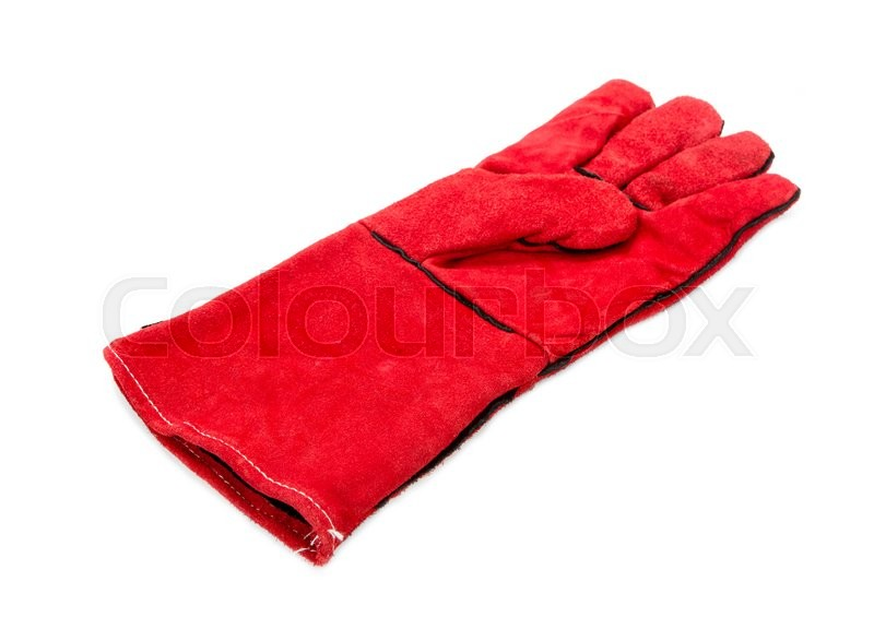 Stock image of 'Heavy-duty red glove. Isolated on a white background.'
