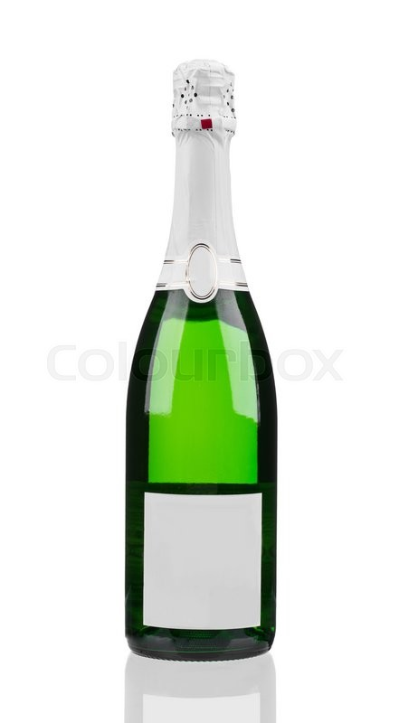 Stock image of 'Close up of champagne bottle. Isolated on a white background.'
