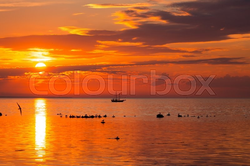 Stock image of 'tall ship sailing along skyline during sunset'