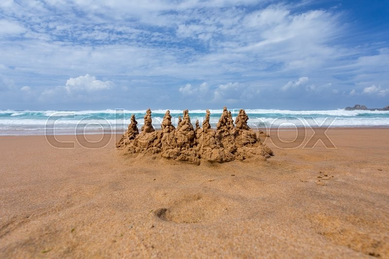 Stock image of 'Sand castle on the beach'