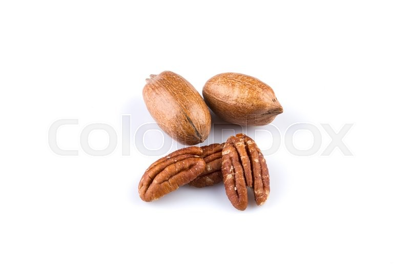 Stock image of 'Few pecan nuts isolated on white background'