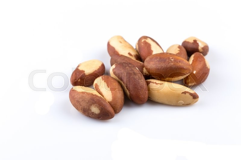 Stock image of 'Brazil Nuts Close-up Isolated on White Background'