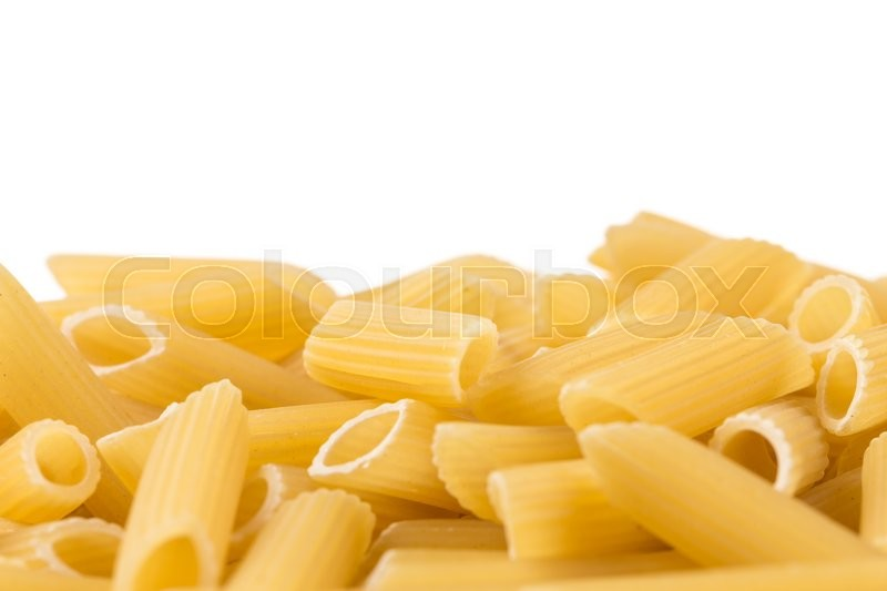 Stock image of 'penne italian pasta isolated on white background'