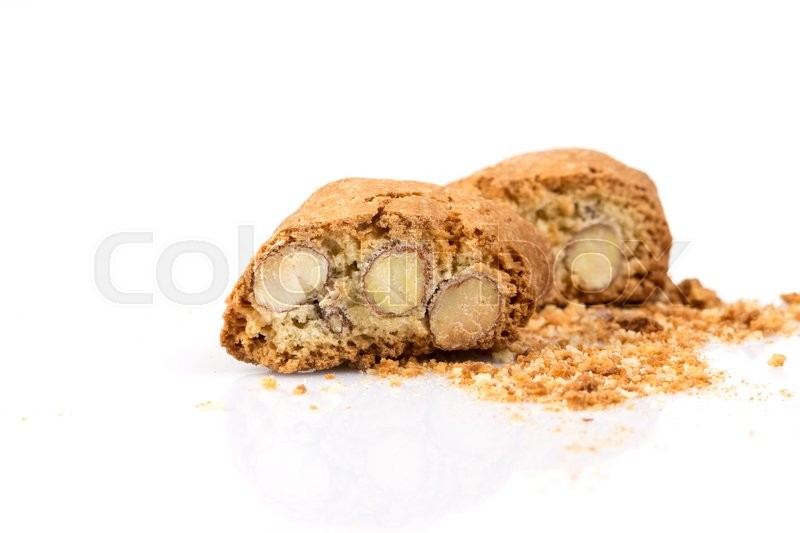 Stock image of 'Italian cantuccini cookie with almond filling. Studio shot, isolated on white background.'