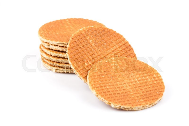 Stock image of 'Dutch waffle isolated on a white background'
