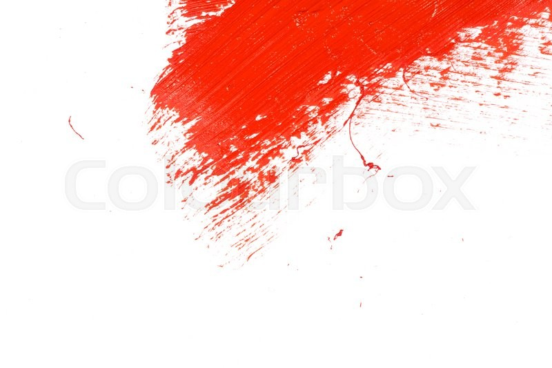 Stock image of 'Red stroke of the paint brush on white paper'