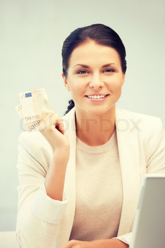 Stock image of 'picture of lovely woman with euro cash money'