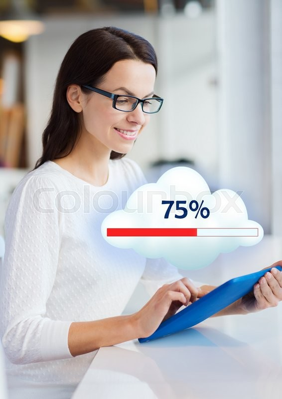 Stock image of 'business, people, cloud computing, technology and lifestyle concept - smiling young woman in eyeglasses with tablet pc computer sharing or uploading files at office or home'