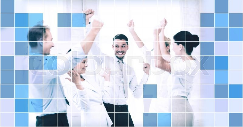Stock image of 'business, people, achievement and success concept - happy business team celebrating victory in office over blue squared grid background'