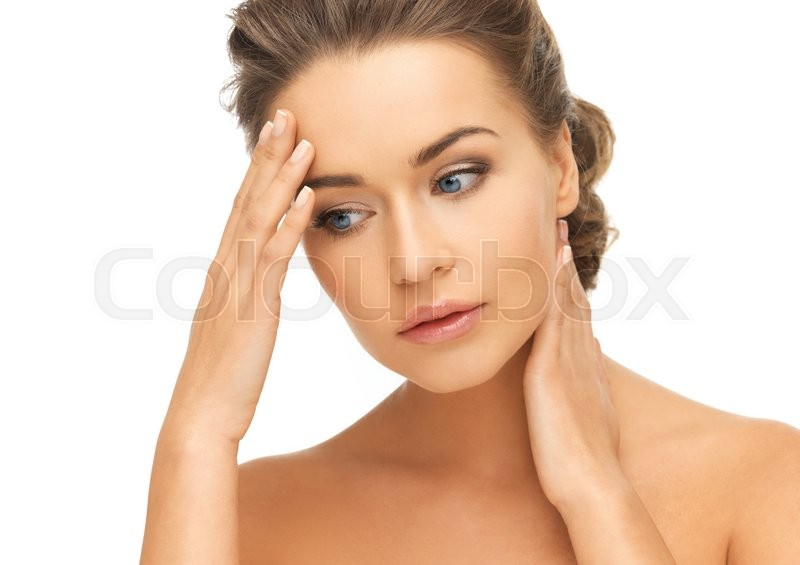 Stock image of 'bride and wedding concept - depressed woman holding hands on her neck and forehead'