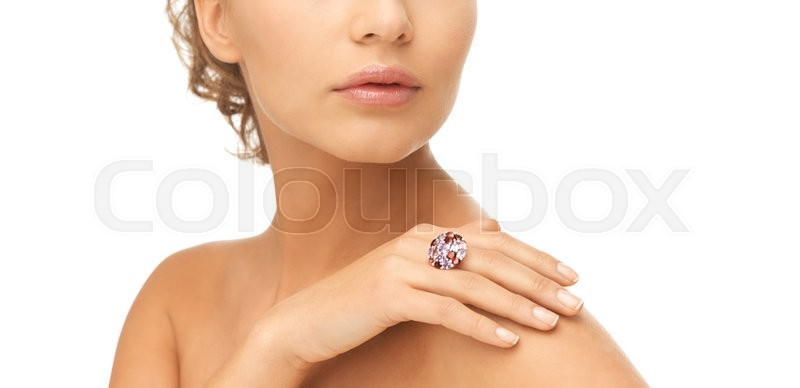 Stock image of 'picture of beautiful woman with cocktail ring'