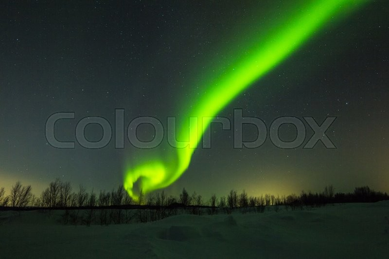 Stock image of 'Polar lights in the winter night sky'